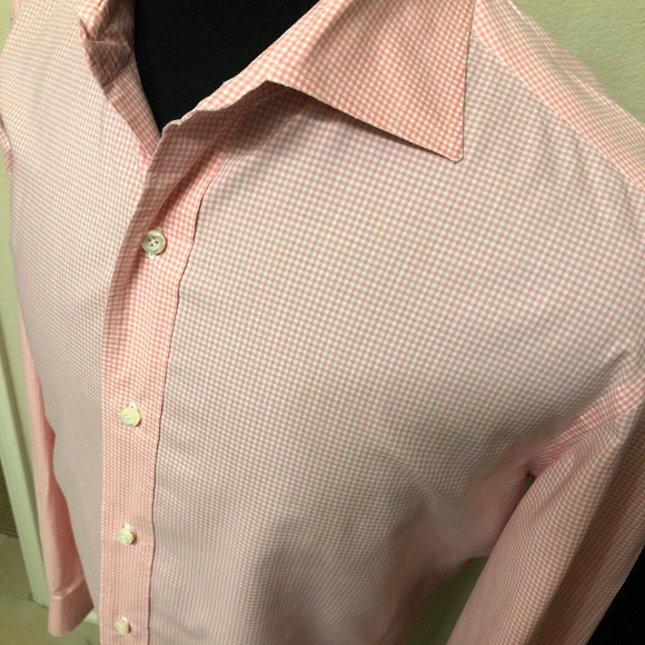 Isaia Other - isaia napoli dress shirt size 16 pink check cotton